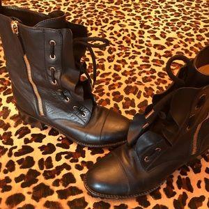 VALENTINO BLACK RUFFLES BIKER ZIP BOOTS Size 38.5